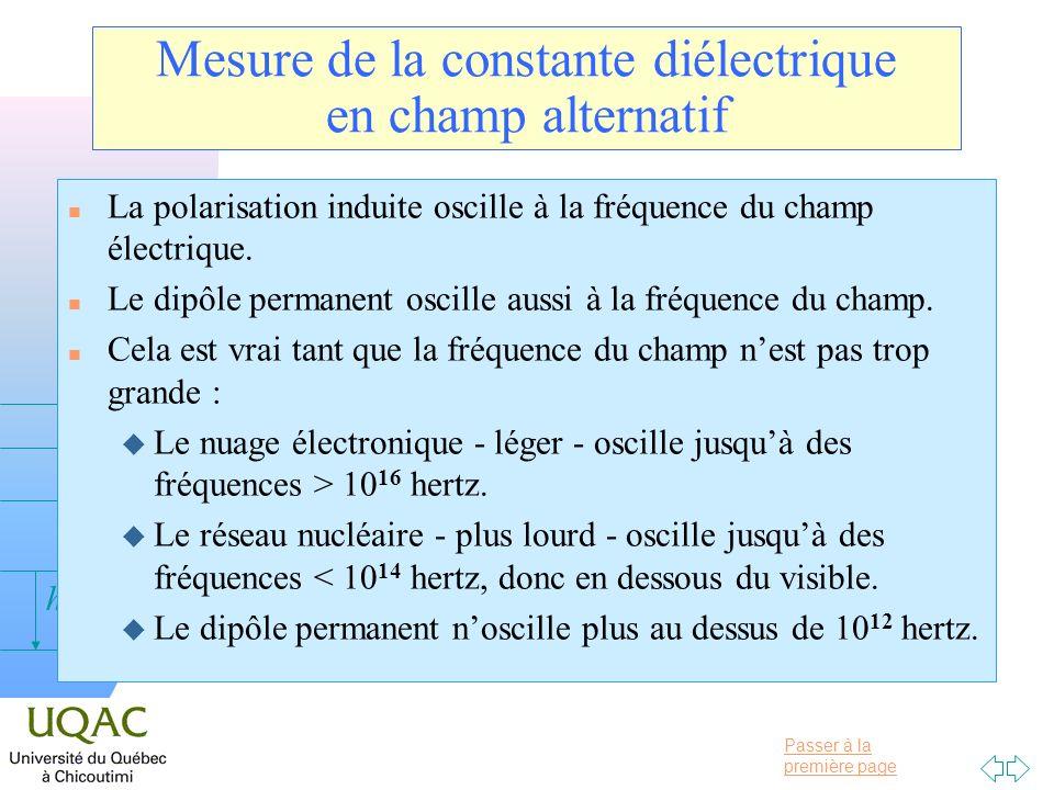 Passer à la première page v = 0 h Mesure de la constante diélectrique en champ alternatif n La polarisation induite oscille à la fréquence du champ él