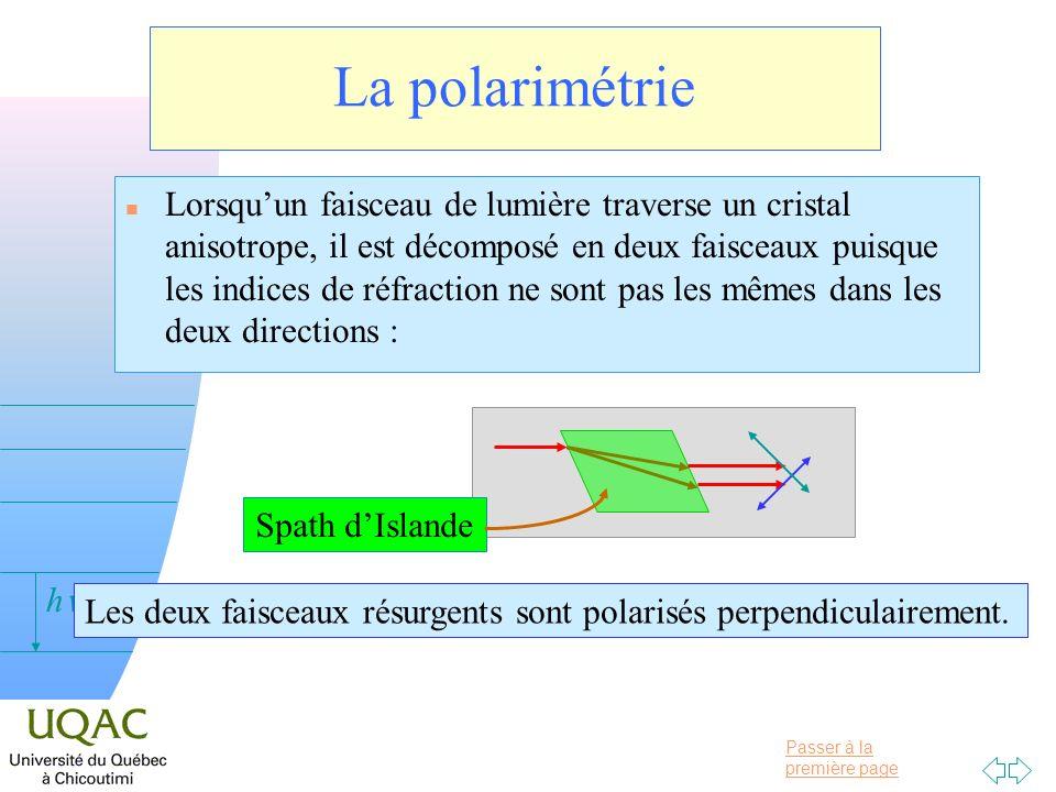 Passer à la première page v = 0 h La polarimétrie n Lorsquun faisceau de lumière traverse un cristal anisotrope, il est décomposé en deux faisceaux pu