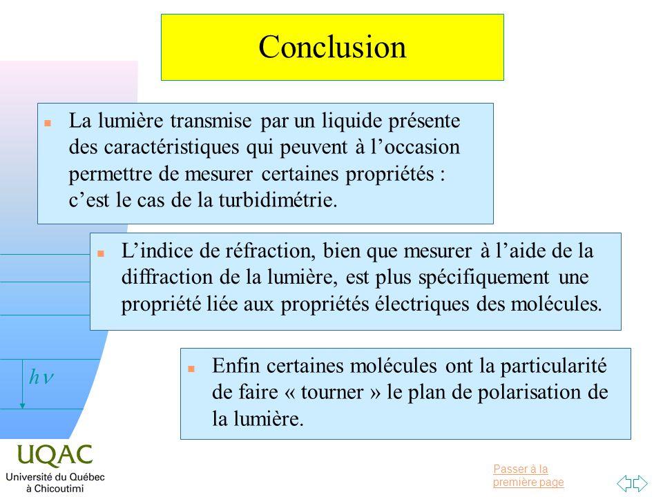 Passer à la première page v = 0 h Conclusion n La lumière transmise par un liquide présente des caractéristiques qui peuvent à loccasion permettre de