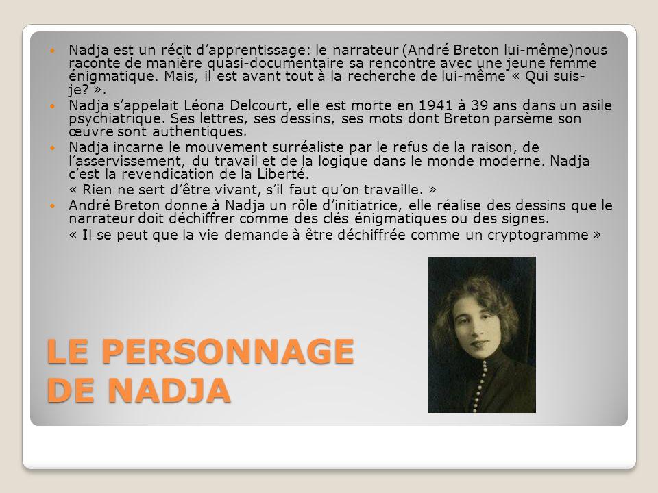 LE PERSONNAGE DE NADJA Nadja est un récit dapprentissage: le narrateur (André Breton lui-même)nous raconte de manière quasi-documentaire sa rencontre