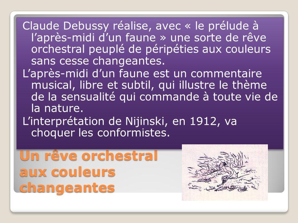 Un rêve orchestral aux couleurs changeantes Claude Debussy réalise, avec « le prélude à laprès-midi dun faune » une sorte de rêve orchestral peuplé de