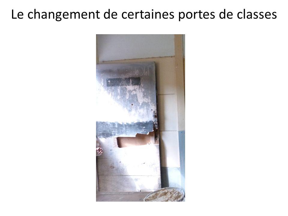 Le changement de certaines portes de classes
