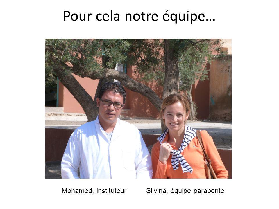 Pour cela notre équipe… Mohamed, instituteurSilvina, équipe parapente