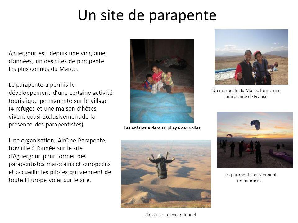 Un site de parapente Aguergour est, depuis une vingtaine dannées, un des sites de parapente les plus connus du Maroc. Le parapente a permis le dévelop