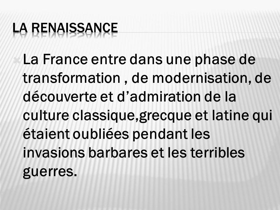 La France entre dans une phase de transformation, de modernisation, de découverte et dadmiration de la culture classique,grecque et latine qui étaient