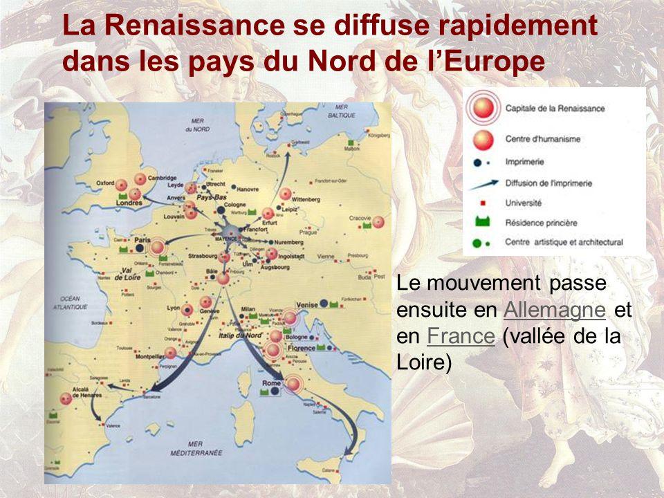 La Renaissance se diffuse rapidement dans les pays du Nord de lEurope Le mouvement passe ensuite en Allemagne et en France (vallée de la Loire)Allemag
