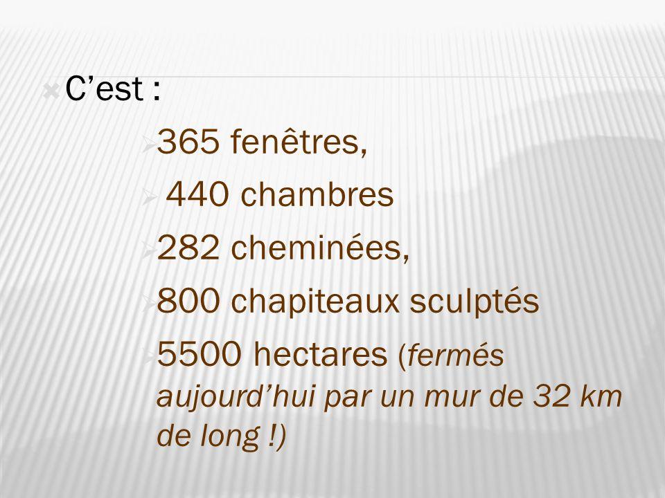 Cest : 365 fenêtres, 440 chambres 282 cheminées, 800 chapiteaux sculptés 5500 hectares (fermés aujourdhui par un mur de 32 km de long !)