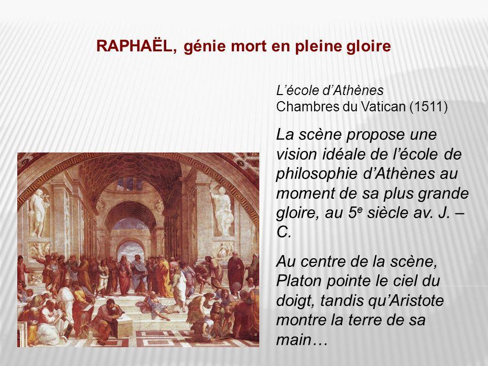 RAPHAËL, génie mort en pleine gloire Lécole dAthènes Chambres du Vatican (1511) La scène propose une vision idéale de lécole de philosophie dAthènes a