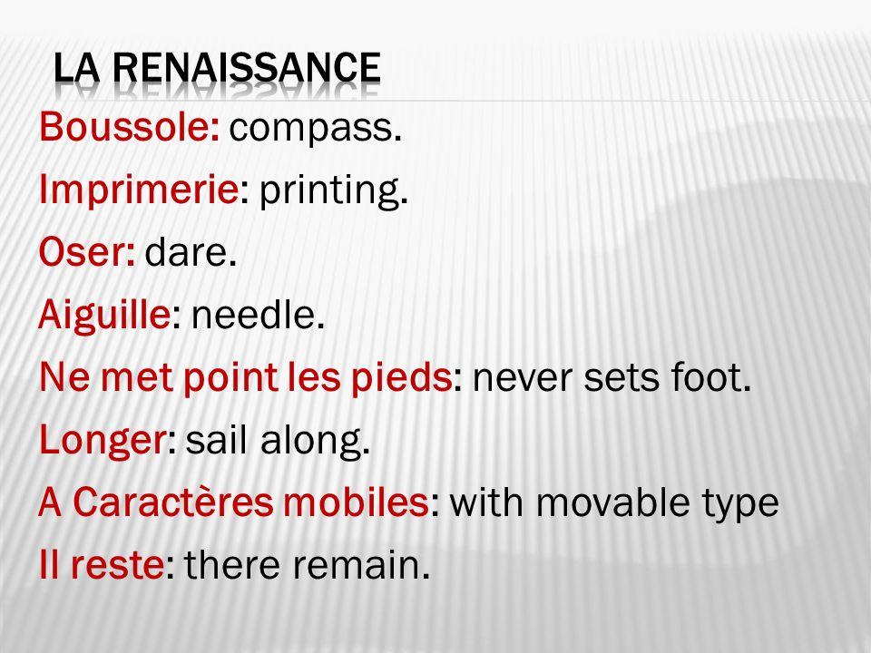 Boussole: compass. Imprimerie: printing. Oser: dare. Aiguille: needle. Ne met point les pieds: never sets foot. Longer: sail along. A Caractères mobil