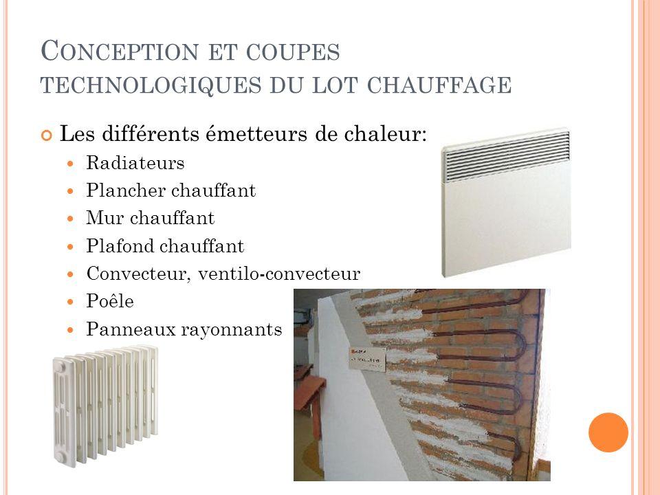 Les différents émetteurs de chaleur: Radiateurs Plancher chauffant Mur chauffant Plafond chauffant Convecteur, ventilo-convecteur Poêle Panneaux rayon