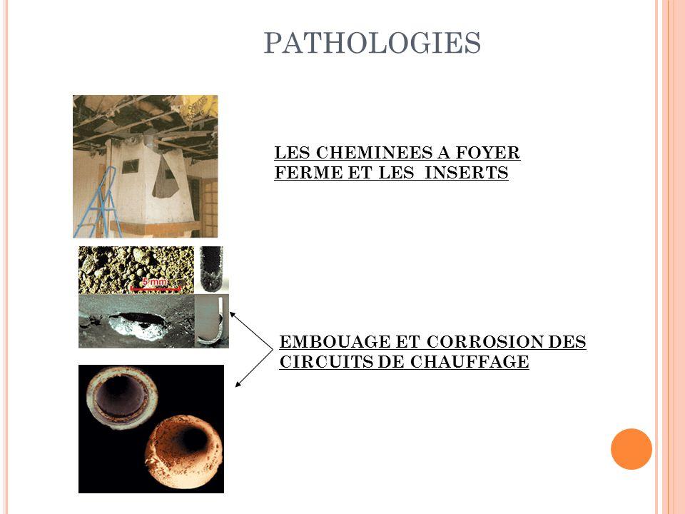 PATHOLOGIES EMBOUAGE ET CORROSION DES CIRCUITS DE CHAUFFAGE LES CHEMINEES A FOYER FERME ET LES INSERTS