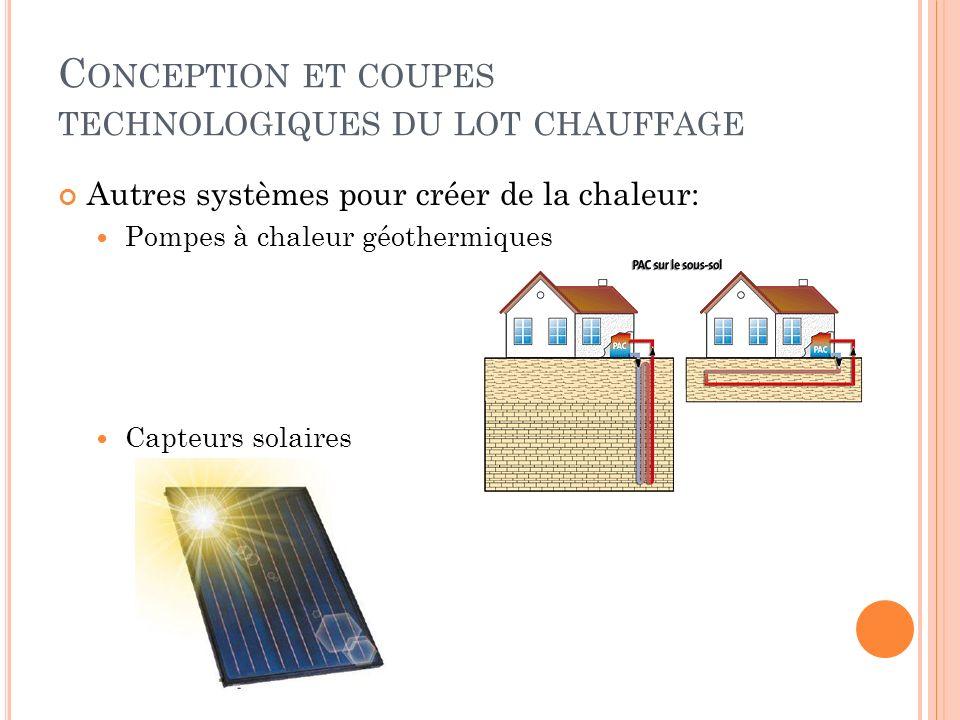 Autres systèmes pour créer de la chaleur: Pompes à chaleur géothermiques Capteurs solaires C ONCEPTION ET COUPES TECHNOLOGIQUES DU LOT CHAUFFAGE