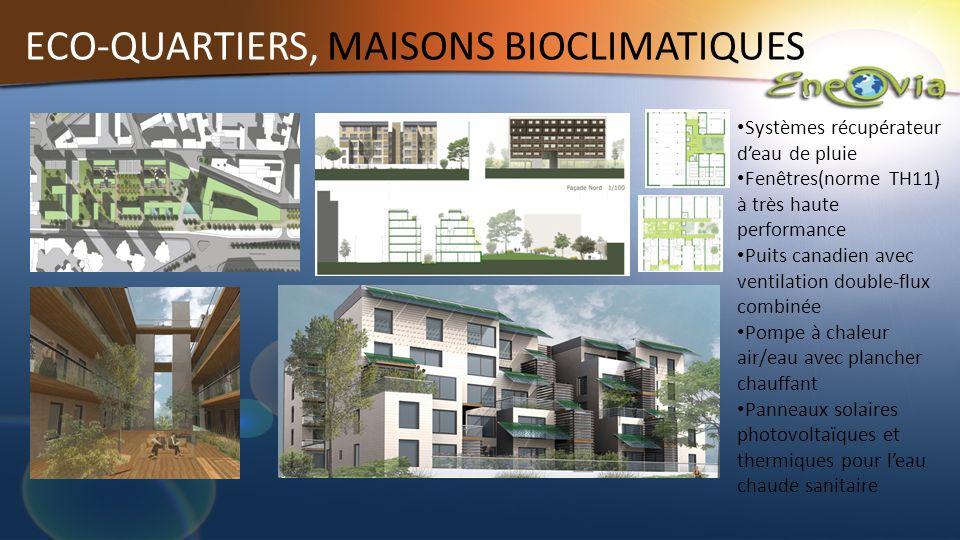 ECO-QUARTIERS, MAISONS BIOCLIMATIQUES Systèmes récupérateur deau de pluie Fenêtres(norme TH11) à très haute performance Puits canadien avec ventilatio