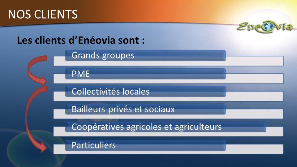 NOS CLIENTS Grands groupes PMECollectivités localesBailleurs privés et sociaux Coopératives agricoles et agriculteurs Particuliers Les clients dEnéovia sont :