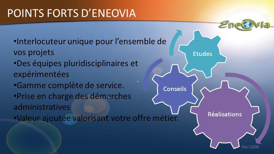 Mai 2008 POINTS FORTS DENEOVIA Interlocuteur unique pour lensemble de vos projets Des équipes pluridisciplinaires et expérimentées Gamme complète de service.