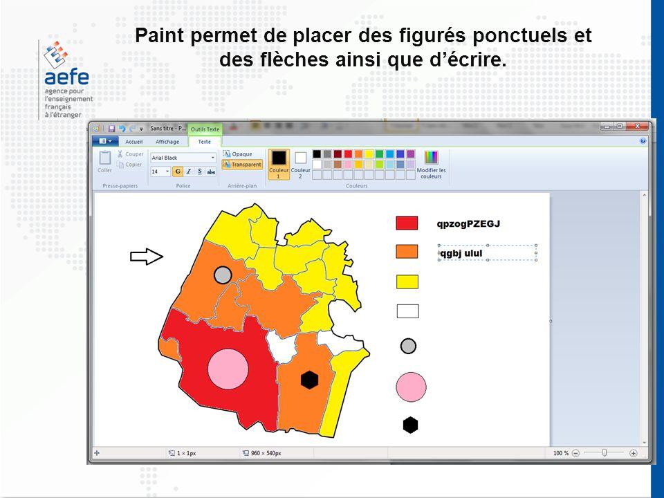 Paint permet de placer des figurés ponctuels et des flèches ainsi que décrire.