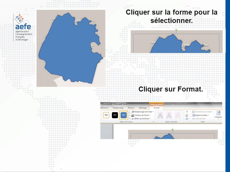 Cliquer sur la forme pour la sélectionner. Cliquer sur Format.