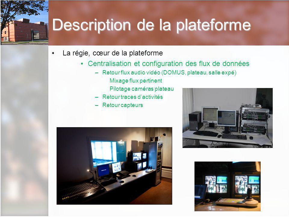 La régie, cœur de la plateforme Centralisation et configuration des flux de données –Retour flux audio vidéo (DOMUS, plateau, salle expé) Mixage flux pertinent Pilotage caméras plateau –Retour traces dactivités –Retour capteurs