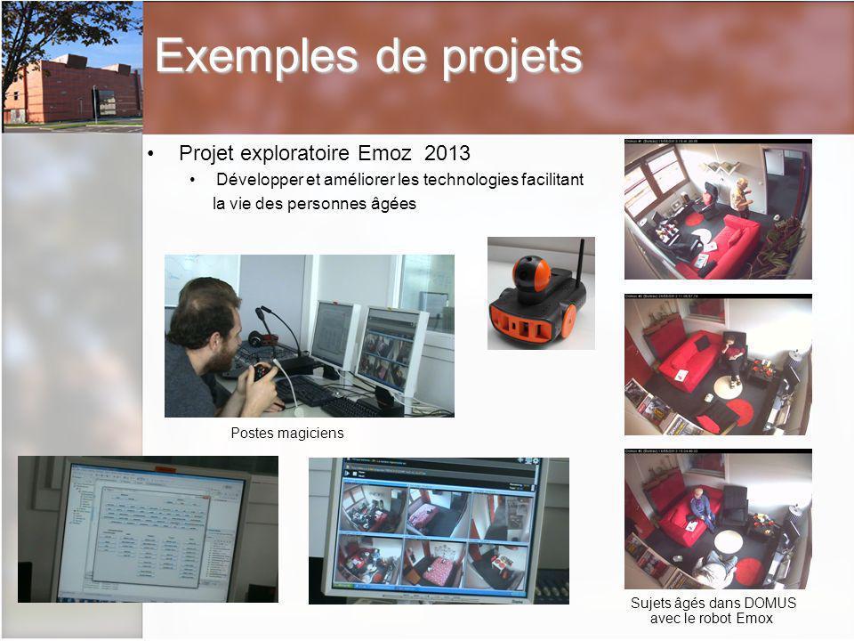 Projet exploratoire Emoz 2013 Développer et améliorer les technologies facilitant la vie des personnes âgées Postes magiciens Sujets âgés dans DOMUS avec le robot Emox