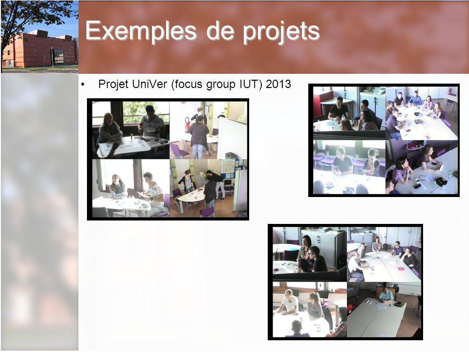 Exemples de projets Projet UniVer (focus group IUT) 2013