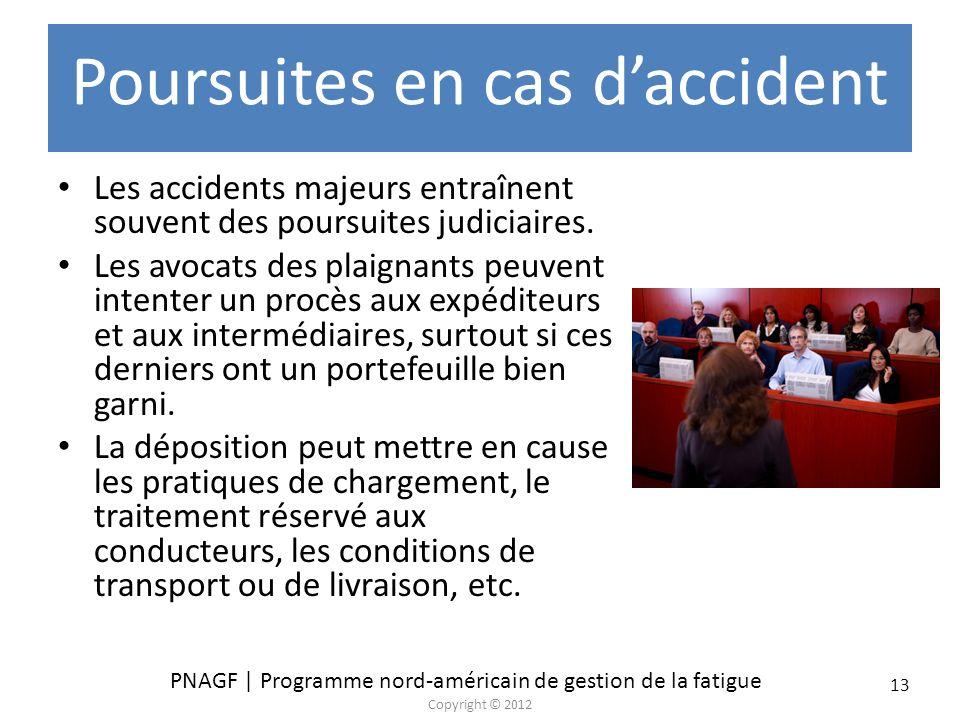 PNAGF | Programme nord-américain de gestion de la fatigue Copyright © 2012 13 Poursuites en cas daccident Les accidents majeurs entraînent souvent des