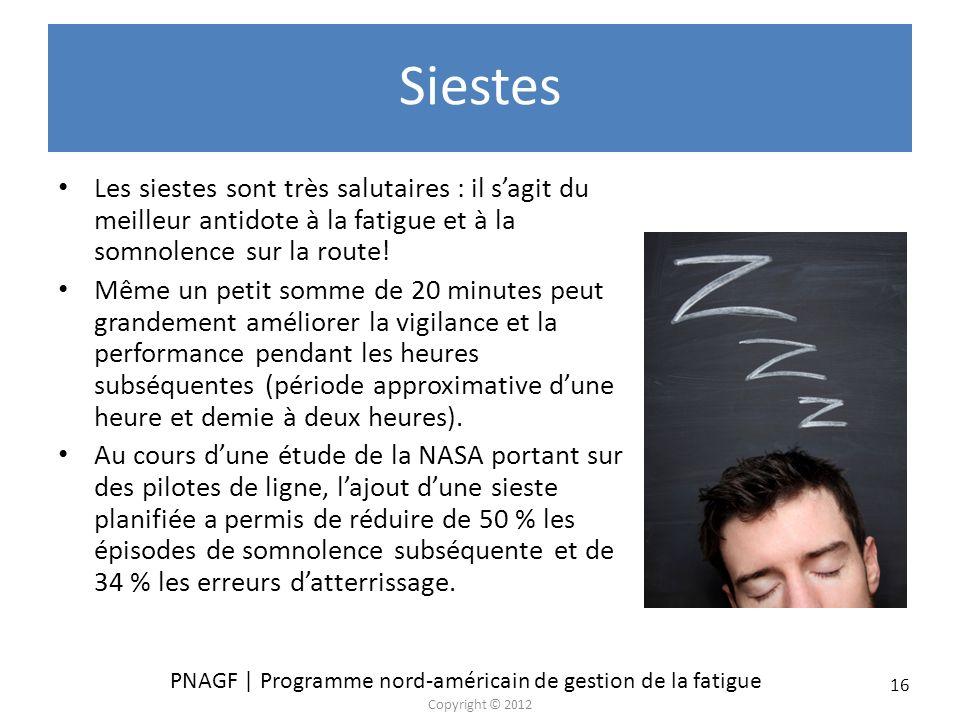 PNAGF | Programme nord-américain de gestion de la fatigue Copyright © 2012 16 Siestes Les siestes sont très salutaires : il sagit du meilleur antidote