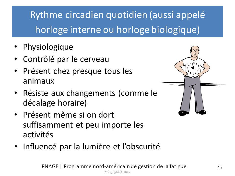 PNAGF | Programme nord-américain de gestion de la fatigue Copyright © 2012 17 Rythme circadien quotidien (aussi appelé horloge interne ou horloge biol