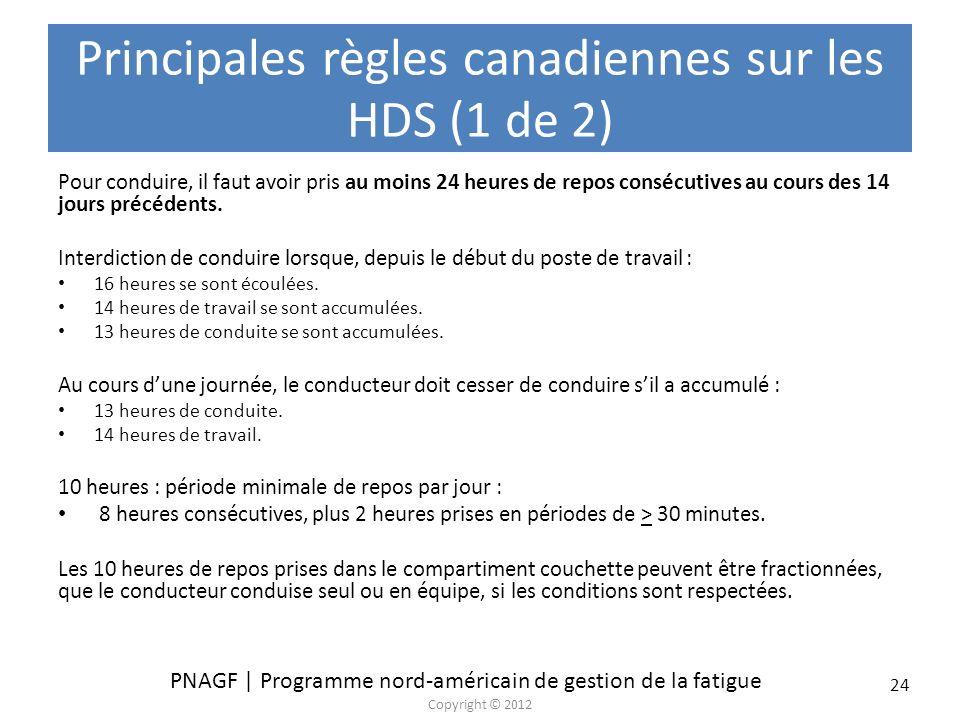 PNAGF | Programme nord-américain de gestion de la fatigue Copyright © 2012 24 Principales règles canadiennes sur les HDS (1 de 2) Pour conduire, il fa