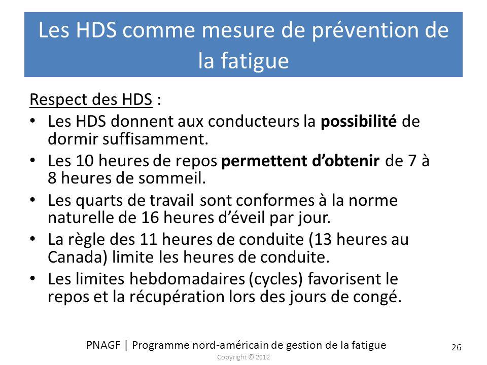 PNAGF | Programme nord-américain de gestion de la fatigue Copyright © 2012 26 Les HDS comme mesure de prévention de la fatigue Respect des HDS : Les H