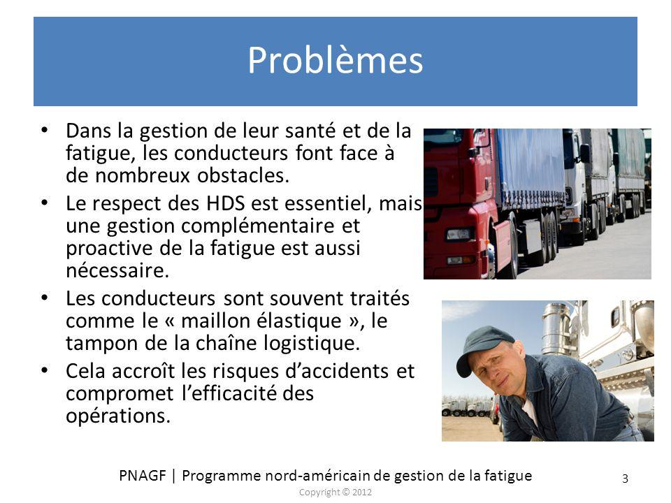 PNAGF | Programme nord-américain de gestion de la fatigue Copyright © 2012 44 Sélection de directives de la TCA et de la NITL pour les expéditeurs et les réceptionnaires Coopérer avec le transporteur pour établir des conditions raisonnables de temps de transport et permettre ainsi au transporteur et au conducteur de respecter la réglementation sur les HDS et les limites de vitesse.