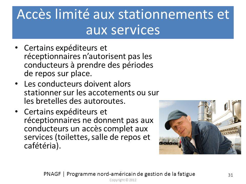 PNAGF | Programme nord-américain de gestion de la fatigue Copyright © 2012 31 Accès limité aux stationnements et aux services Certains expéditeurs et
