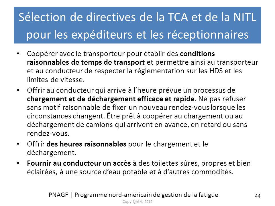 PNAGF | Programme nord-américain de gestion de la fatigue Copyright © 2012 44 Sélection de directives de la TCA et de la NITL pour les expéditeurs et