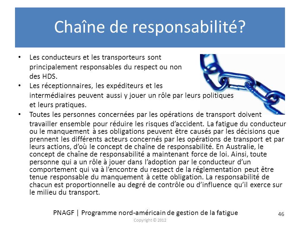 PNAGF | Programme nord-américain de gestion de la fatigue Copyright © 2012 46 Chaîne de responsabilité? Les conducteurs et les transporteurs sont prin