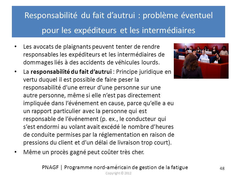 PNAGF | Programme nord-américain de gestion de la fatigue Copyright © 2012 48 Responsabilité du fait dautrui : problème éventuel pour les expéditeurs