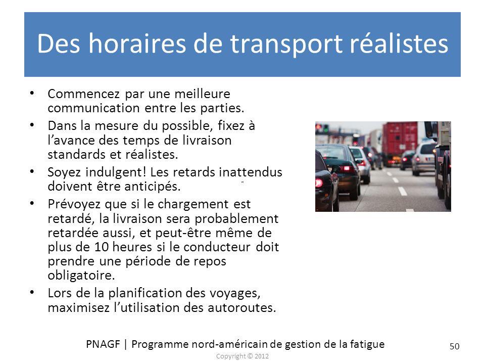 PNAGF | Programme nord-américain de gestion de la fatigue Copyright © 2012 50 Des horaires de transport réalistes Commencez par une meilleure communic