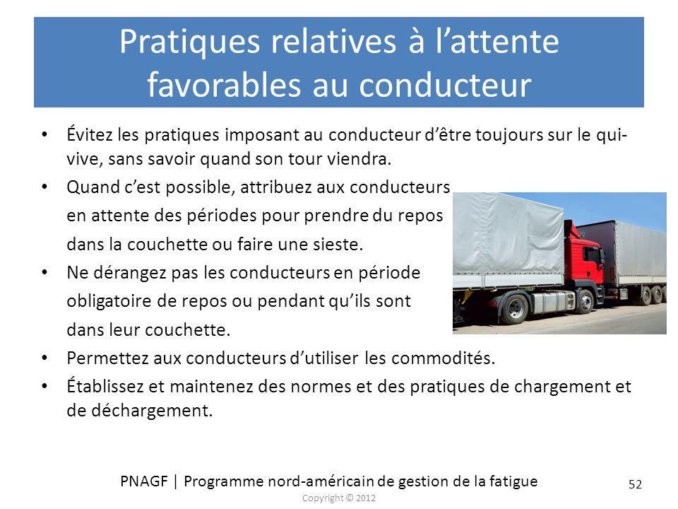 PNAGF | Programme nord-américain de gestion de la fatigue Copyright © 2012 52 Évitez les pratiques imposant au conducteur dêtre toujours sur le qui- v