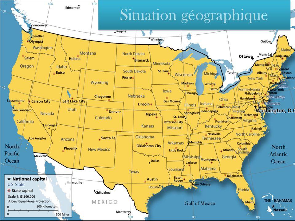 Les États-Unis, en anglais United States of America, pays dAmérique du Nord, incluant lAlaska (au nord-ouest du Canada) et les îles Hawaii (dans le Pacifique Nord).