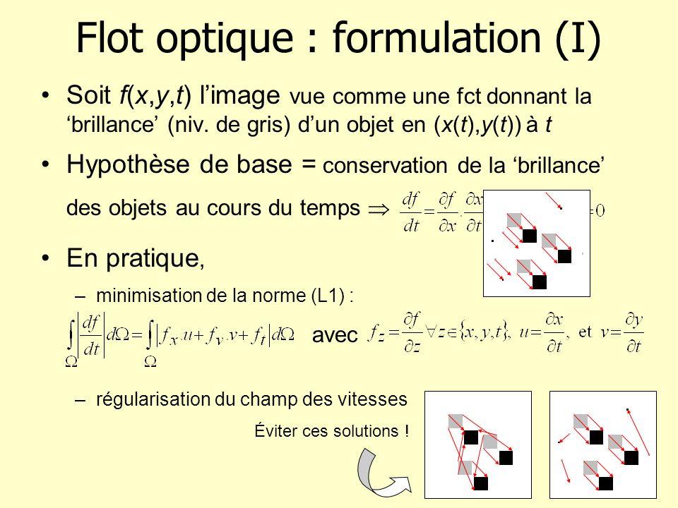 Flot optique : formulation (II) Ajout d1 terme de régularisation énergie à minimiser : (*) avec –Horn & Schunk (1981) : –Weickert & Schnörr (2000) : avec et lénergie est intégrée sur 1 domaine spatio- temporel [0,T] dans (*)