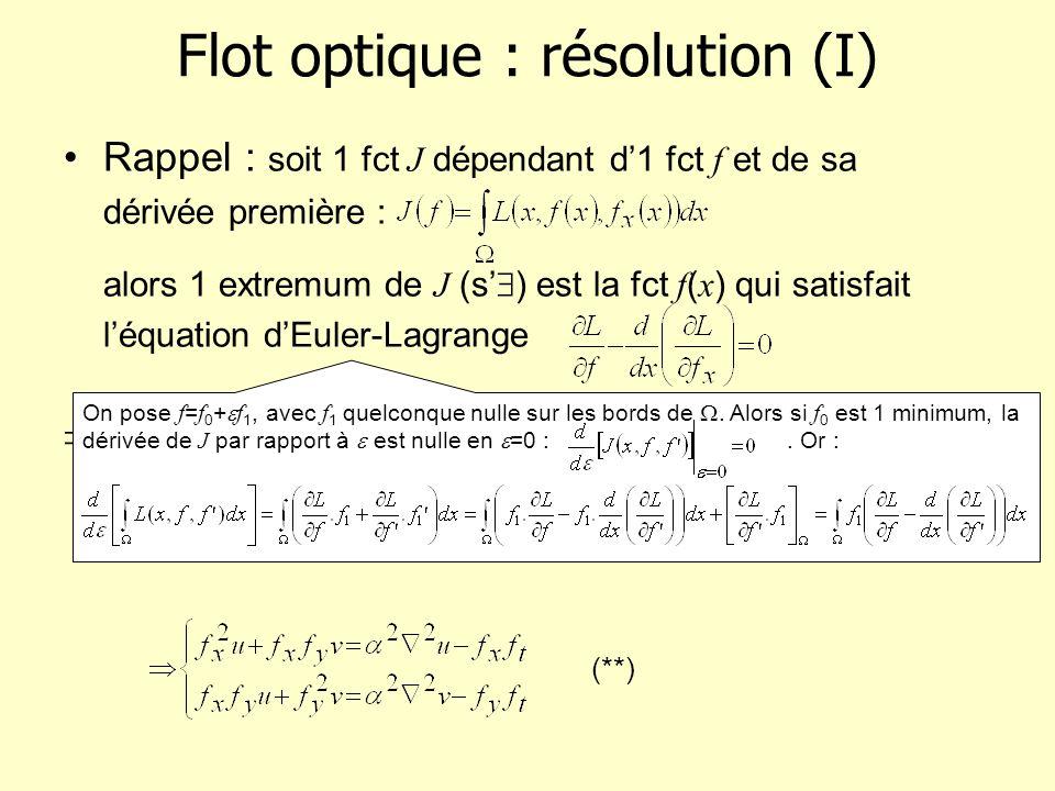 Flot optique : résolution (I) Rappel : soit 1 fct J dépendant d1 fct f et de sa dérivée première : alors 1 extremum de J (s ) est la fct f ( x ) qui s