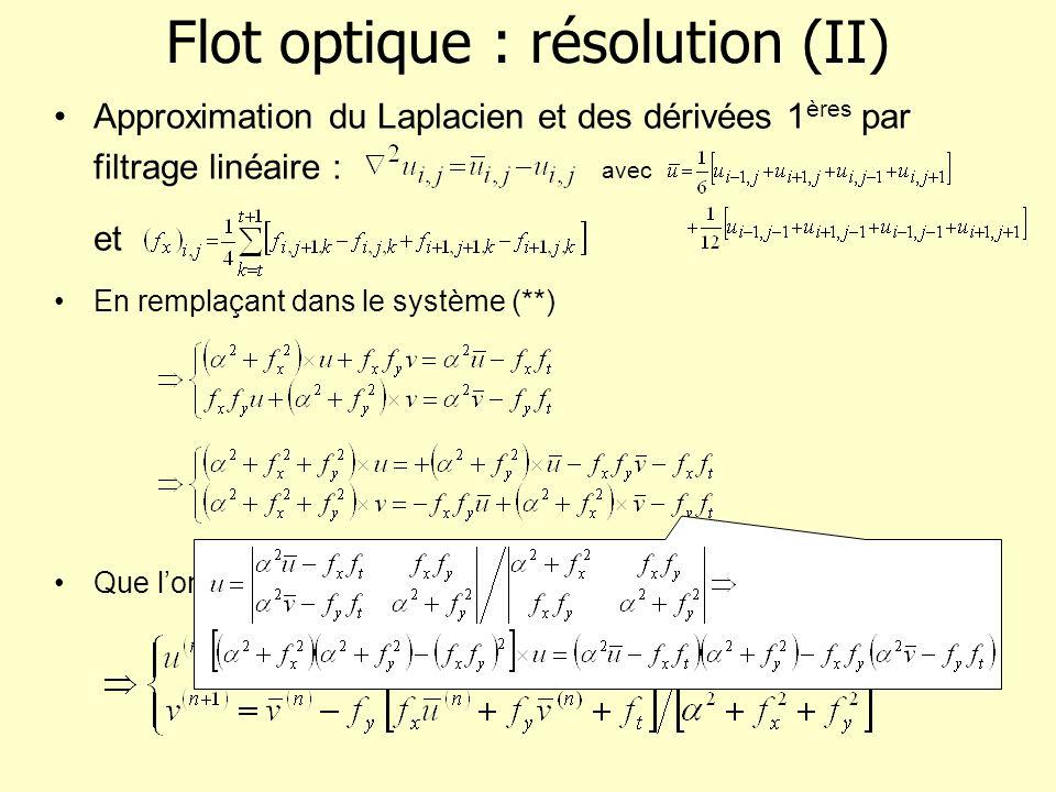 Flot optique : résolution (II) Approximation du Laplacien et des dérivées 1 ères par filtrage linéaire : avec et En remplaçant dans le système (**) Qu