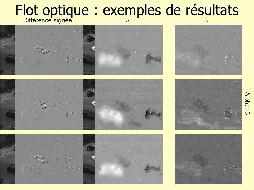 Flot optique : exemples de résultats Différence signée uv Alpha=5