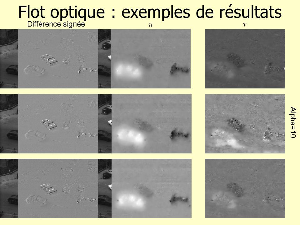 Flot optique : approche hiérarchique Dérivées (1 ères et 2 ndes ) estimées sur des fenêtres de taille 3 3 ou 2 2 2 estimation du flot valide que pour des déplacemets petits.