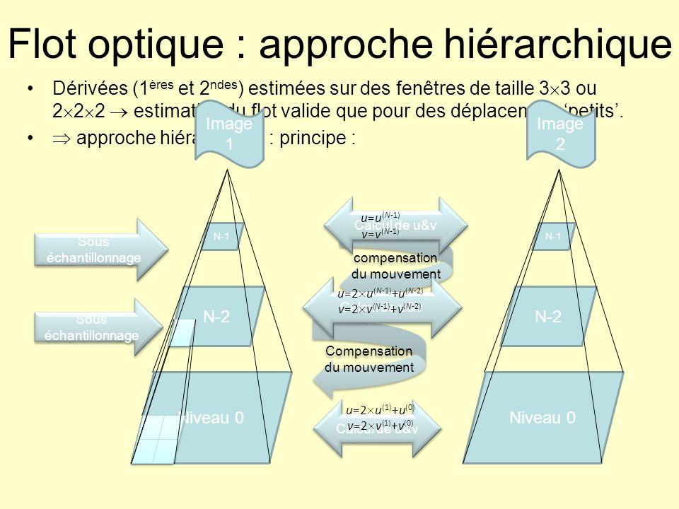Flot optique : approche hiérarchique Dérivées (1 ères et 2 ndes ) estimées sur des fenêtres de taille 3 3 ou 2 2 2 estimation du flot valide que pour
