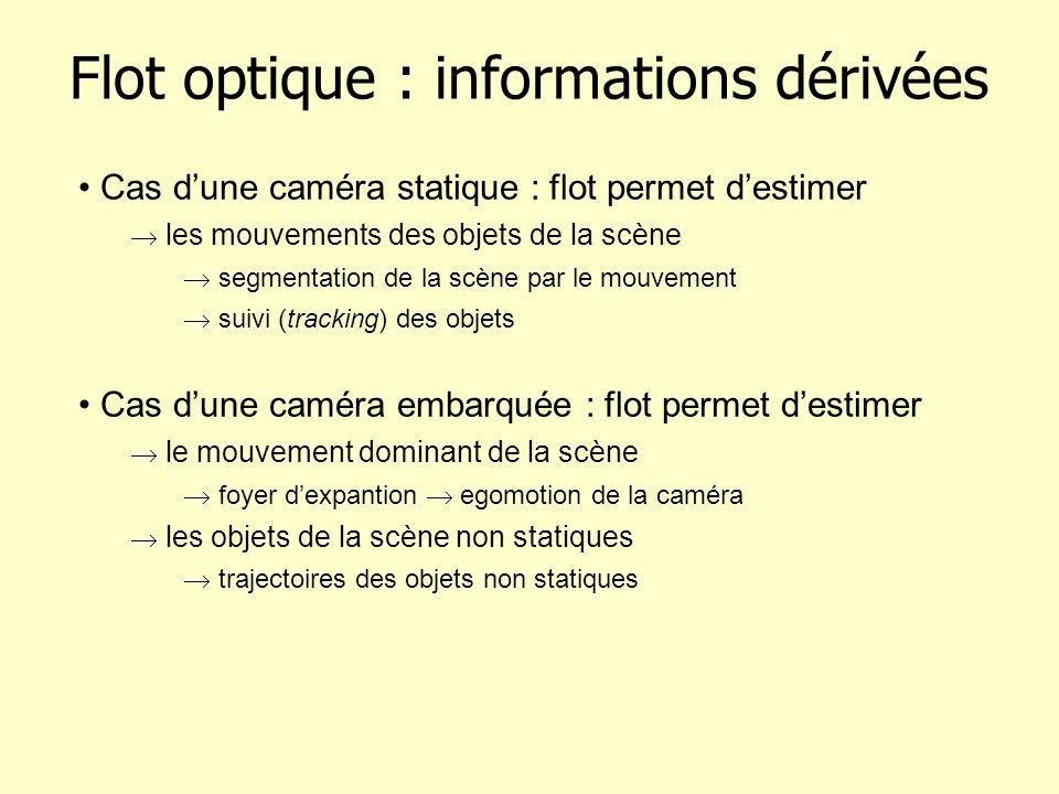 Flot optique : informations dérivées Cas dune caméra statique : flot permet destimer les mouvements des objets de la scène segmentation de la scène pa