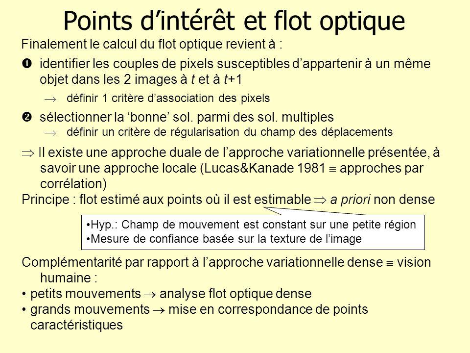 Points dintérêt et flot optique Il existe une approche duale de lapproche variationnelle présentée, à savoir une approche locale (Lucas&Kanade 1981 ap