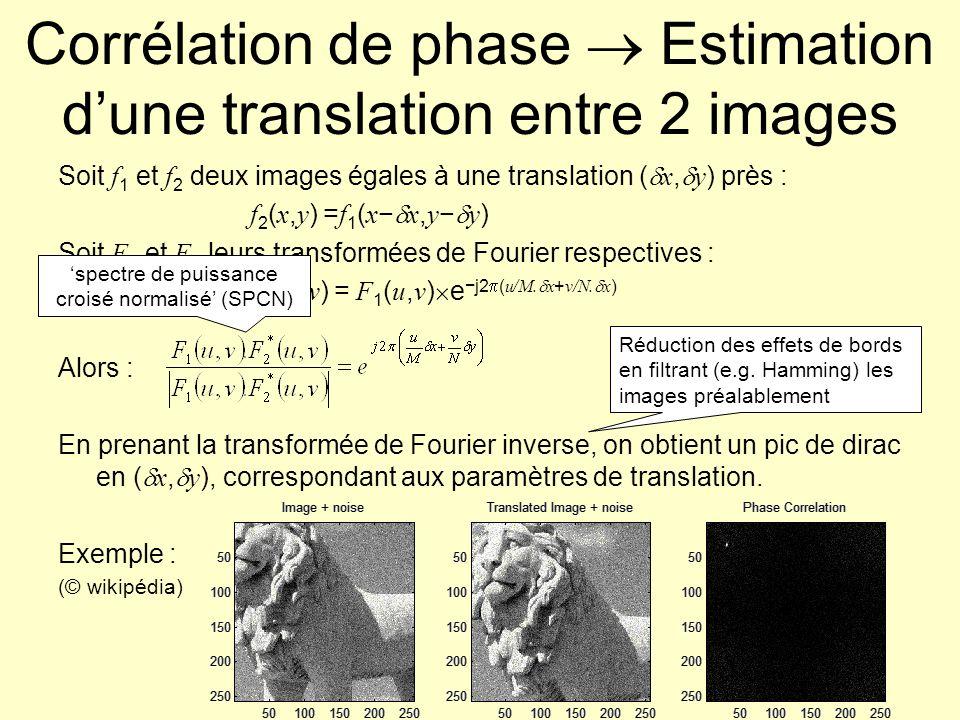 Corrélation de phase : exemple Images 452 452 TF inverse du SPCN Pic en (0,377) Validation : (251,132)-(177,133)=(75,0) (400,307)-(325,307)=(75,0) Et : 452-377=75 (177,133) (325,307) (251,133) (400,307)