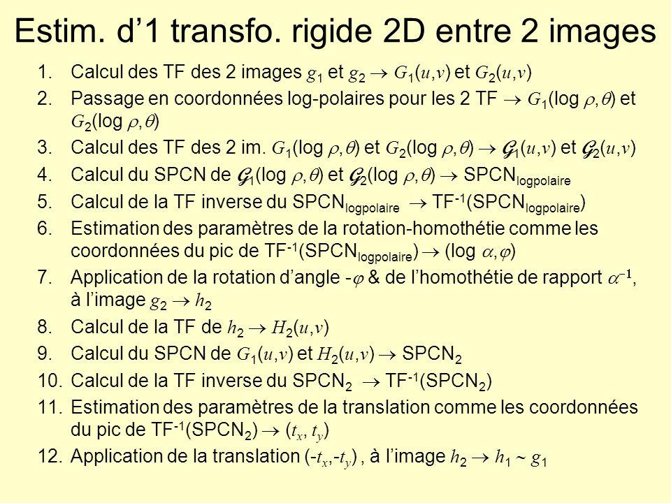 Invariant de Fourier-Mellin : ex.1 Images 512 512 TF inverse du SPCN logpolaire Validation : rotation dangle 60° 86/512 360 facteur déchelle = 0.7 (153,212) (387,298) (194,305) (305,183) Pic en (86,482)