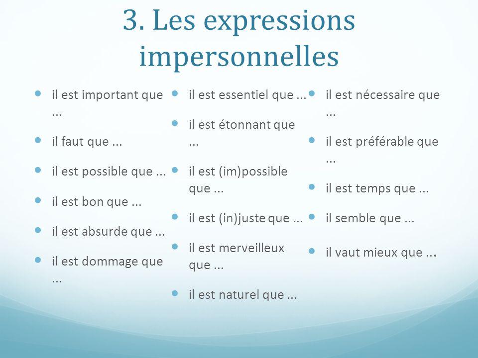 3. Les expressions impersonnelles il est important que... il faut que... il est possible que... il est bon que... il est absurde que... il est dommage