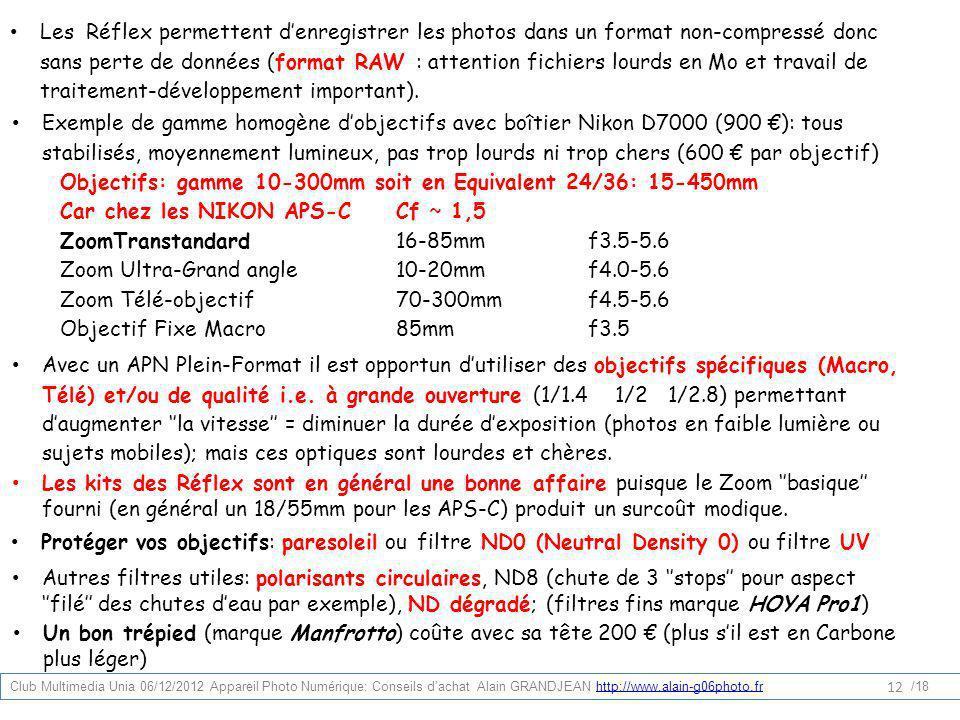 Les Réflex permettent denregistrer les photos dans un format non-compressé donc sans perte de données (format RAW : attention fichiers lourds en Mo et