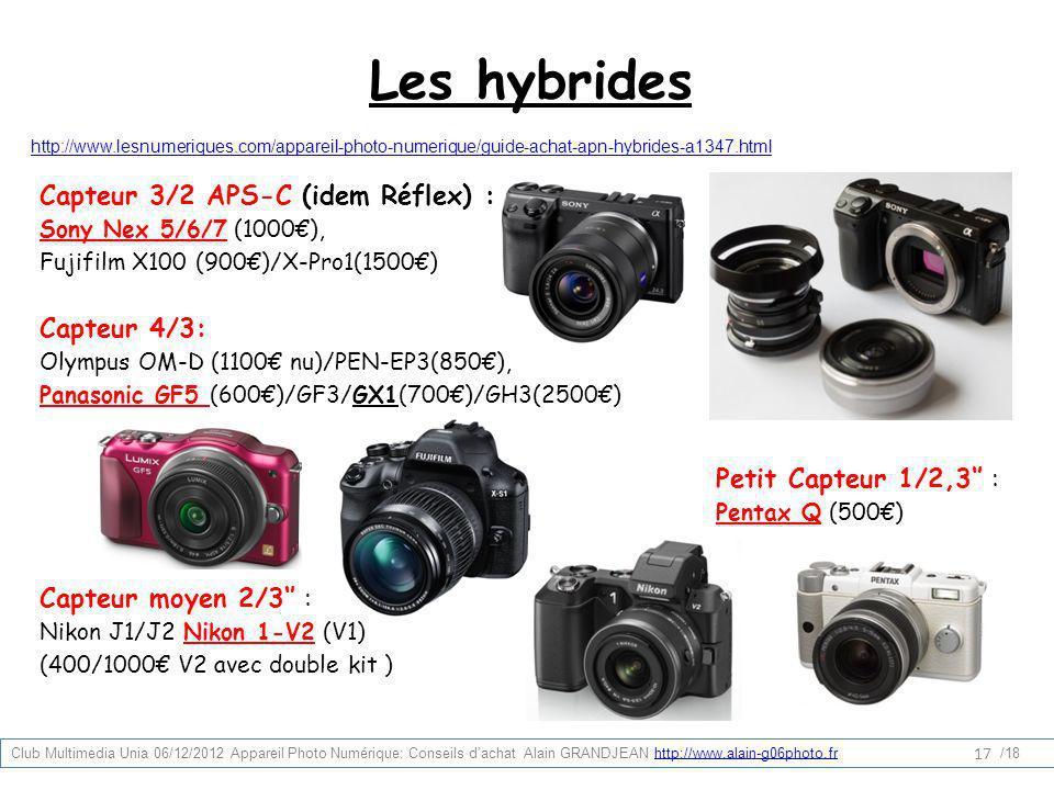 Les hybrides http://www.lesnumeriques.com/appareil-photo-numerique/guide-achat-apn-hybrides-a1347.html Capteur 3/2 APS-C (idem Réflex) : Sony Nex 5/6/